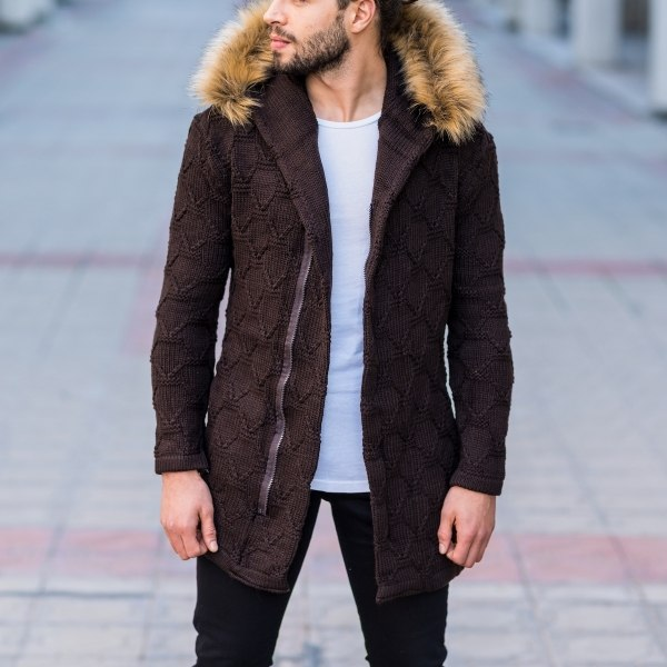 Men's Furry Hooded Cardigan...