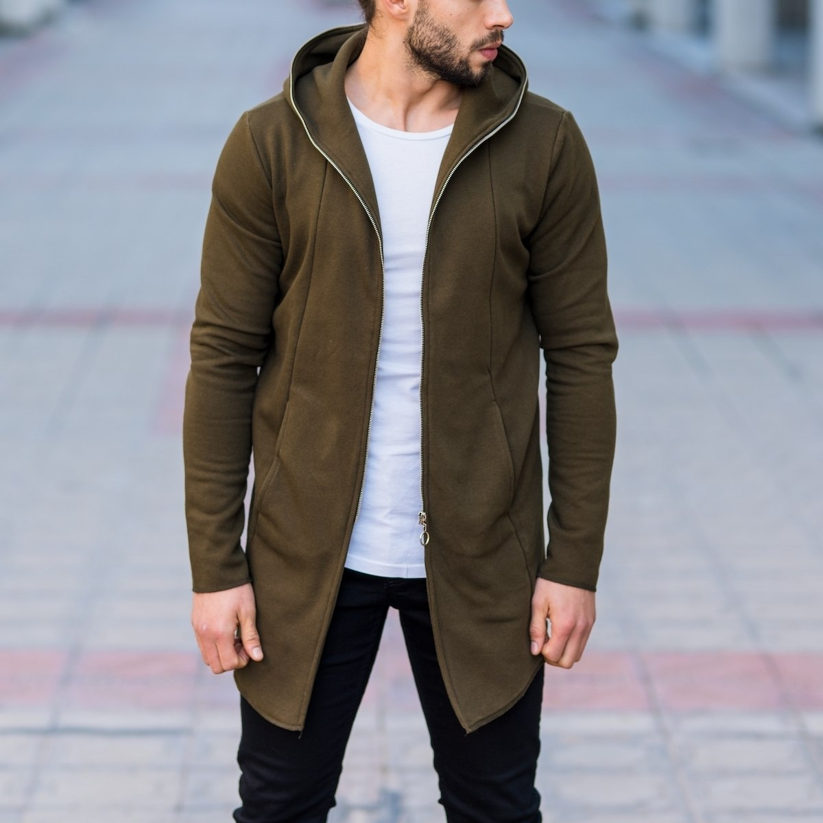 Men's Zipper Cardigan In Khaki