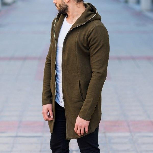 Men's Zipper Cardigan In Khaki