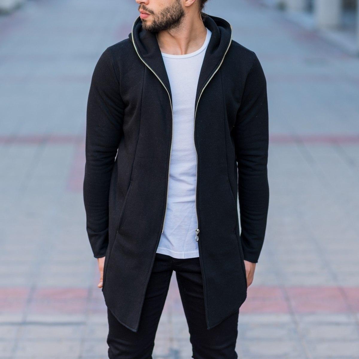 Men's Zipper Cardigan In Black