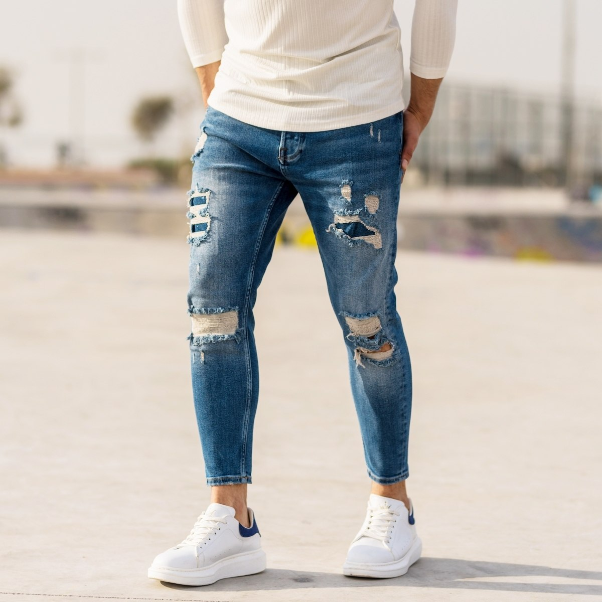 Men's Distorted Double - Patch Jeans
