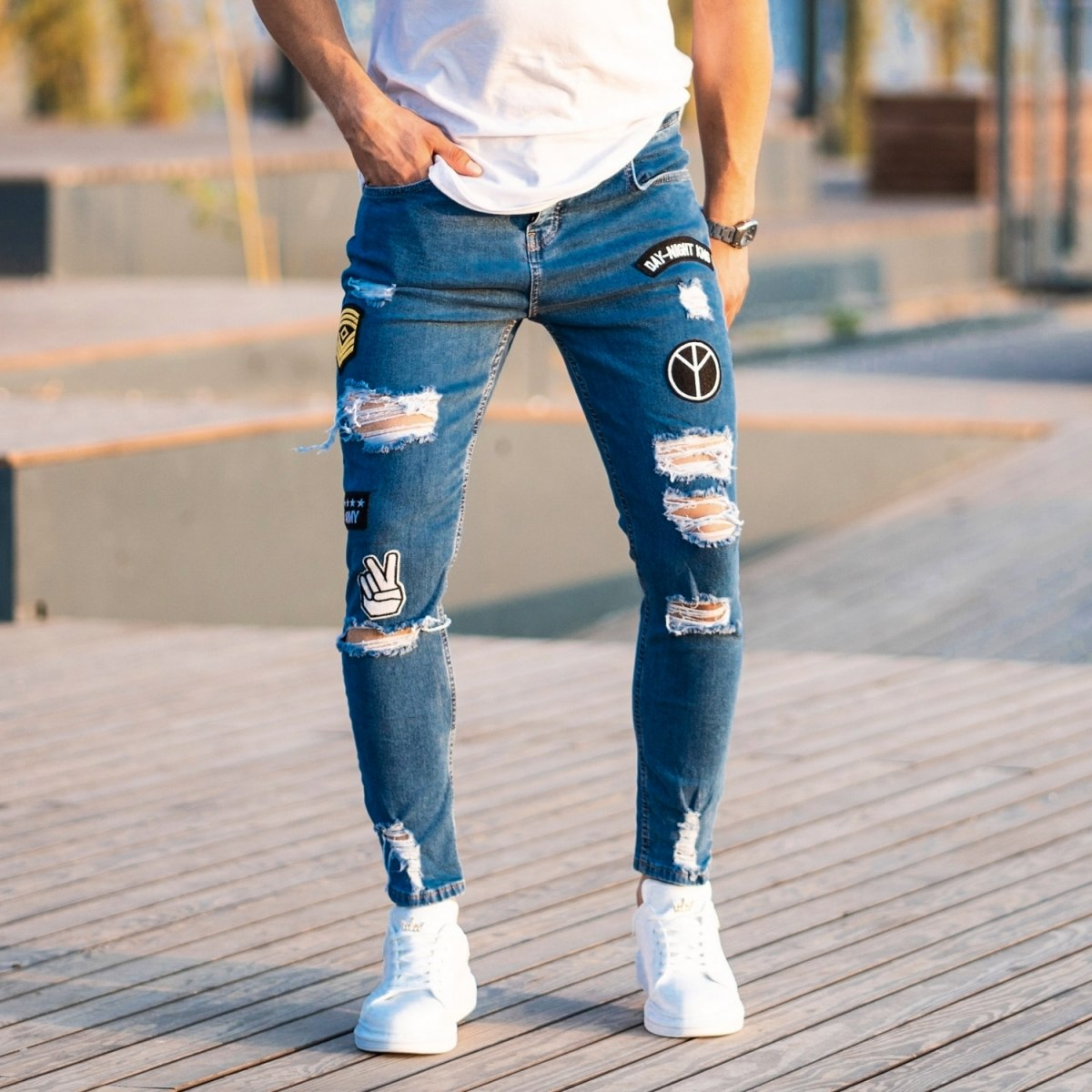 Men's Patchworked Jeans In Blue