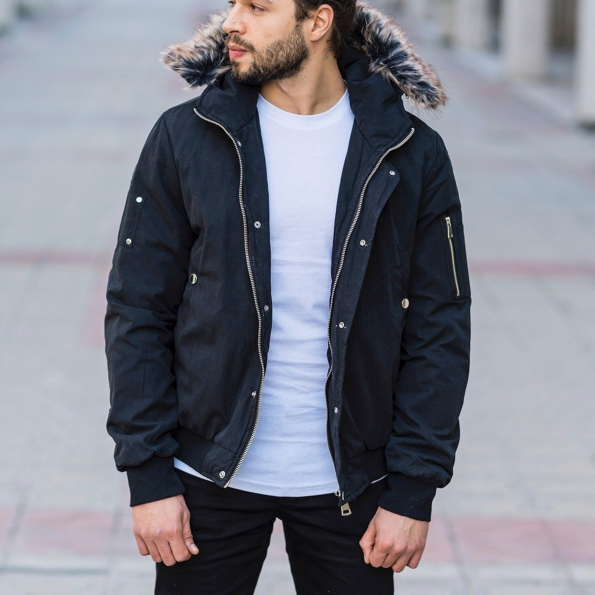 Men's Hooded Furry Jacket In Black