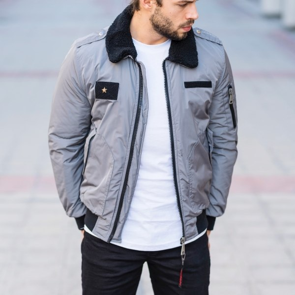 Men's Pilot Jacket In Gray