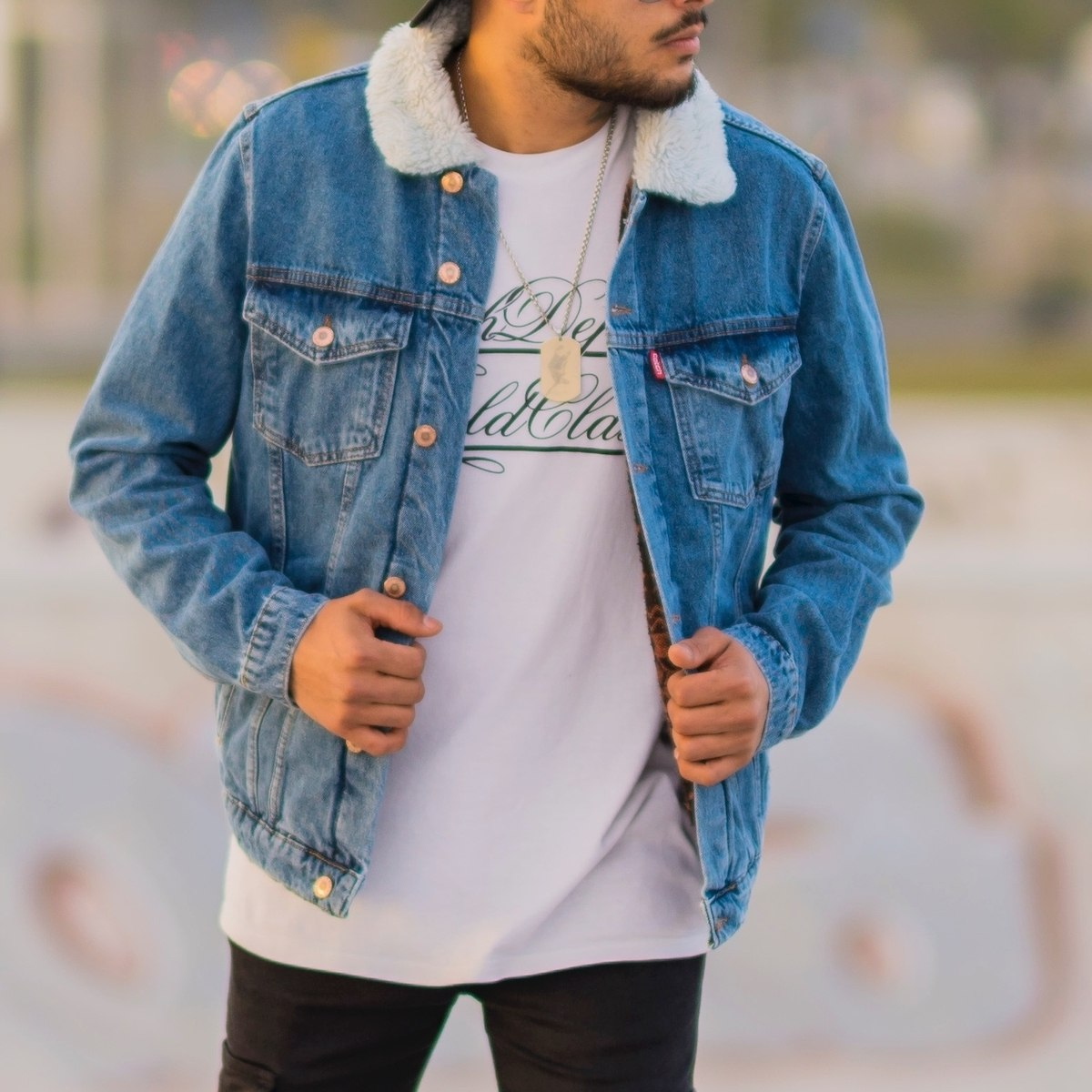 Men's Furry Denim Jacket In...