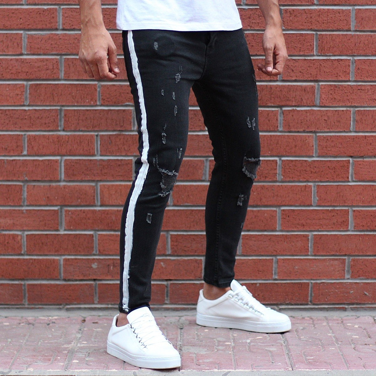 Men's Lycra Jeans With Side...