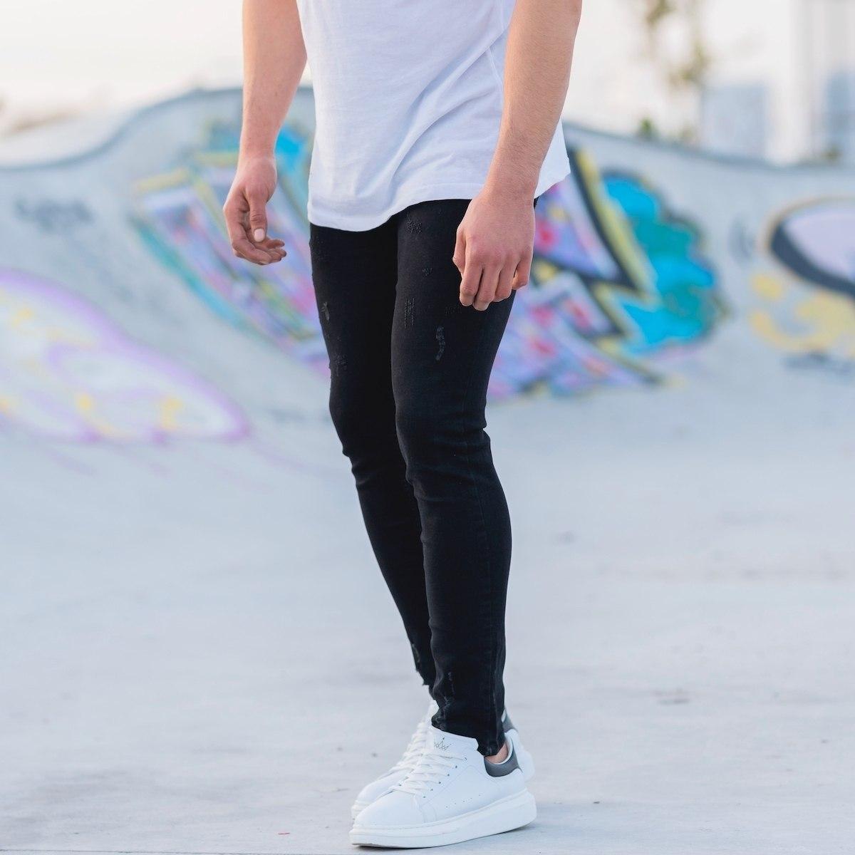 Men's Distorted Jeans In Black