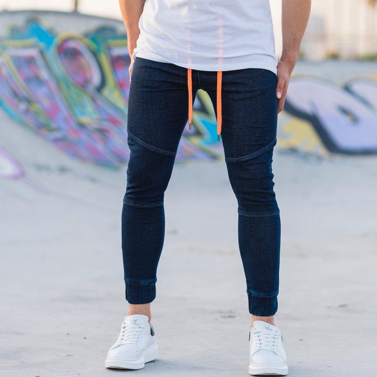 Men's Denim Joggers With Patch Details