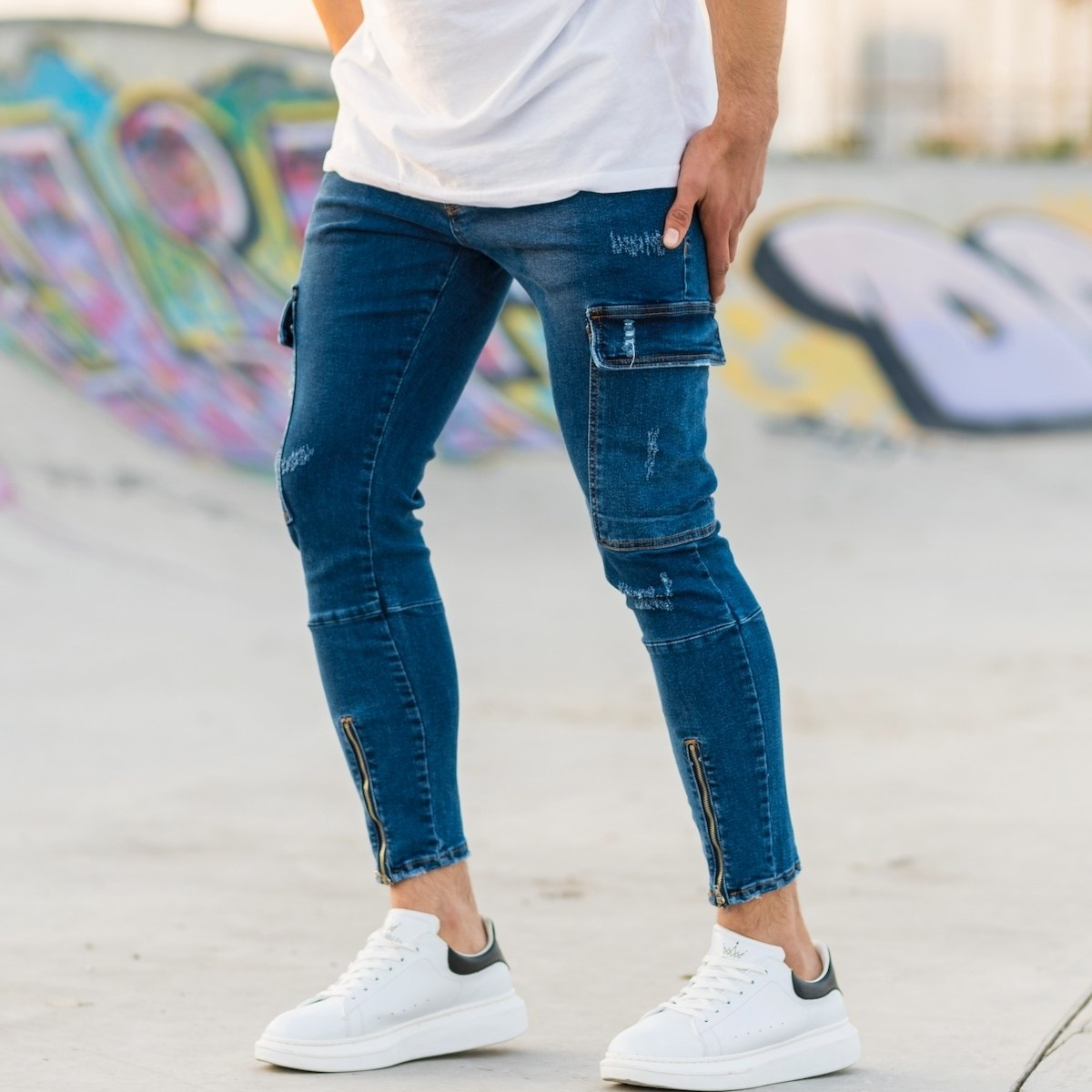 Men's Cargo Jeans With...