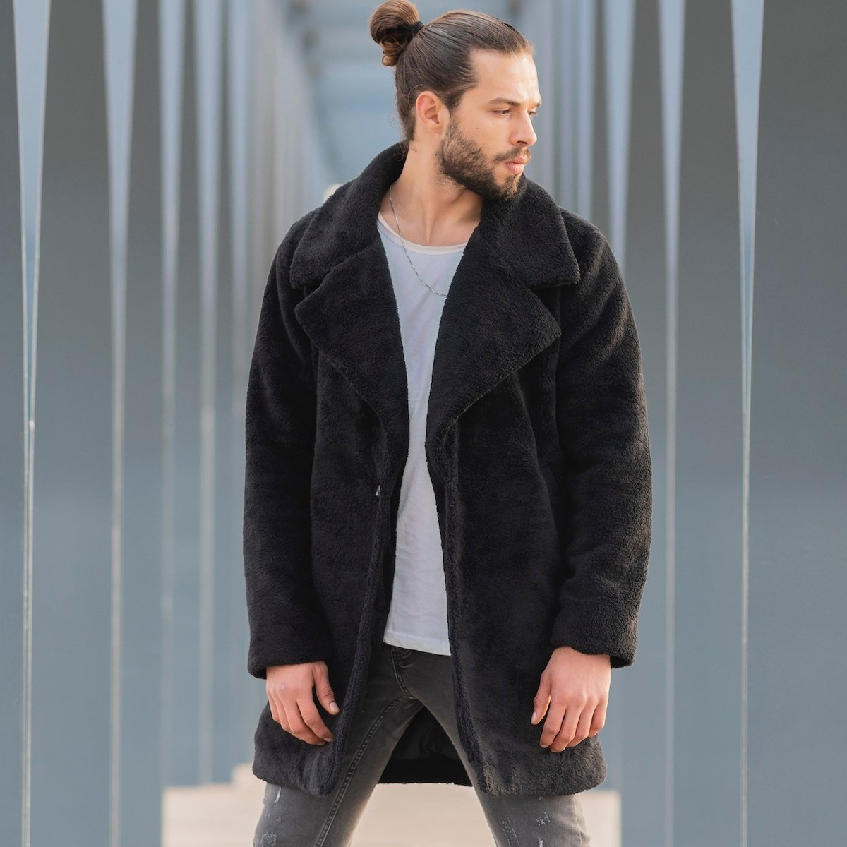 Men's Double Breasted Well-Soft Coat In Black