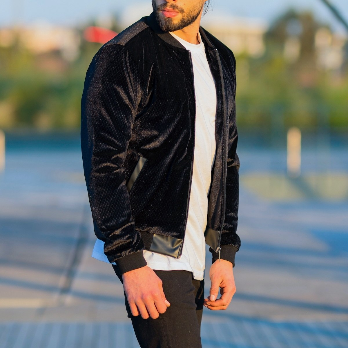 Men's Suede Bomber Jacket...