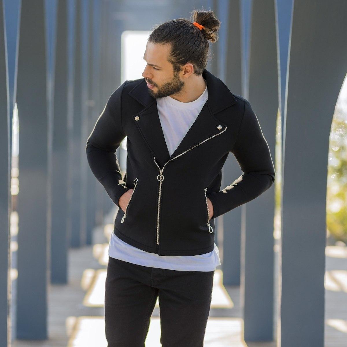 Herren Biker-Jacke in schwarz