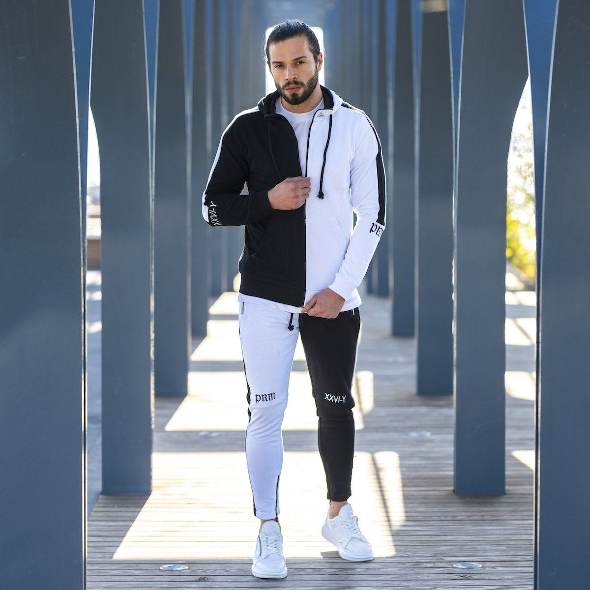 Men's Double Colored Tracksuit In Black-White