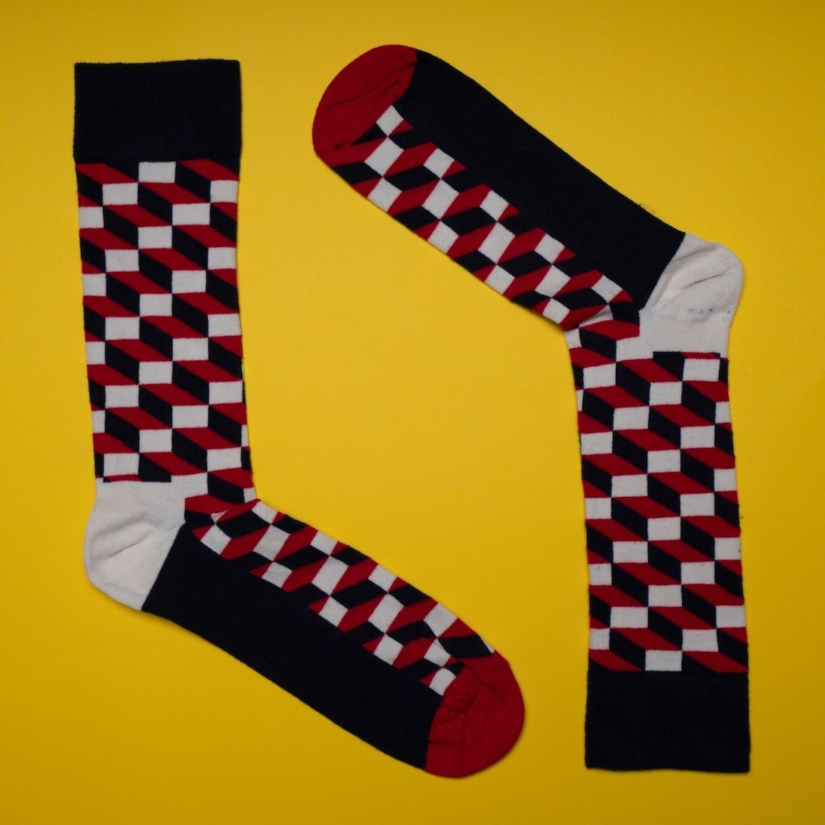 Women's 3D Brick Socks In Red