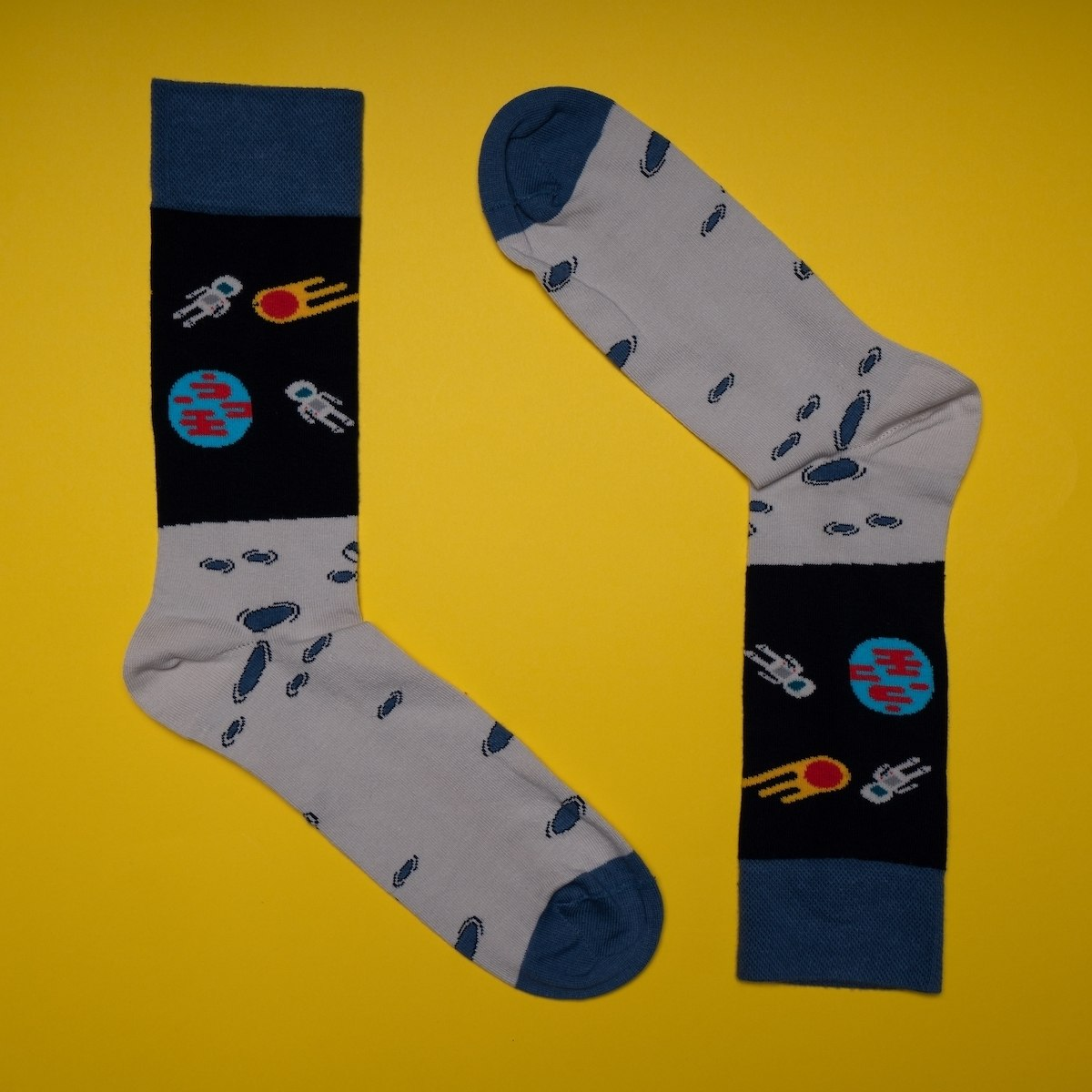 Men's Space Socks In Navy Blue