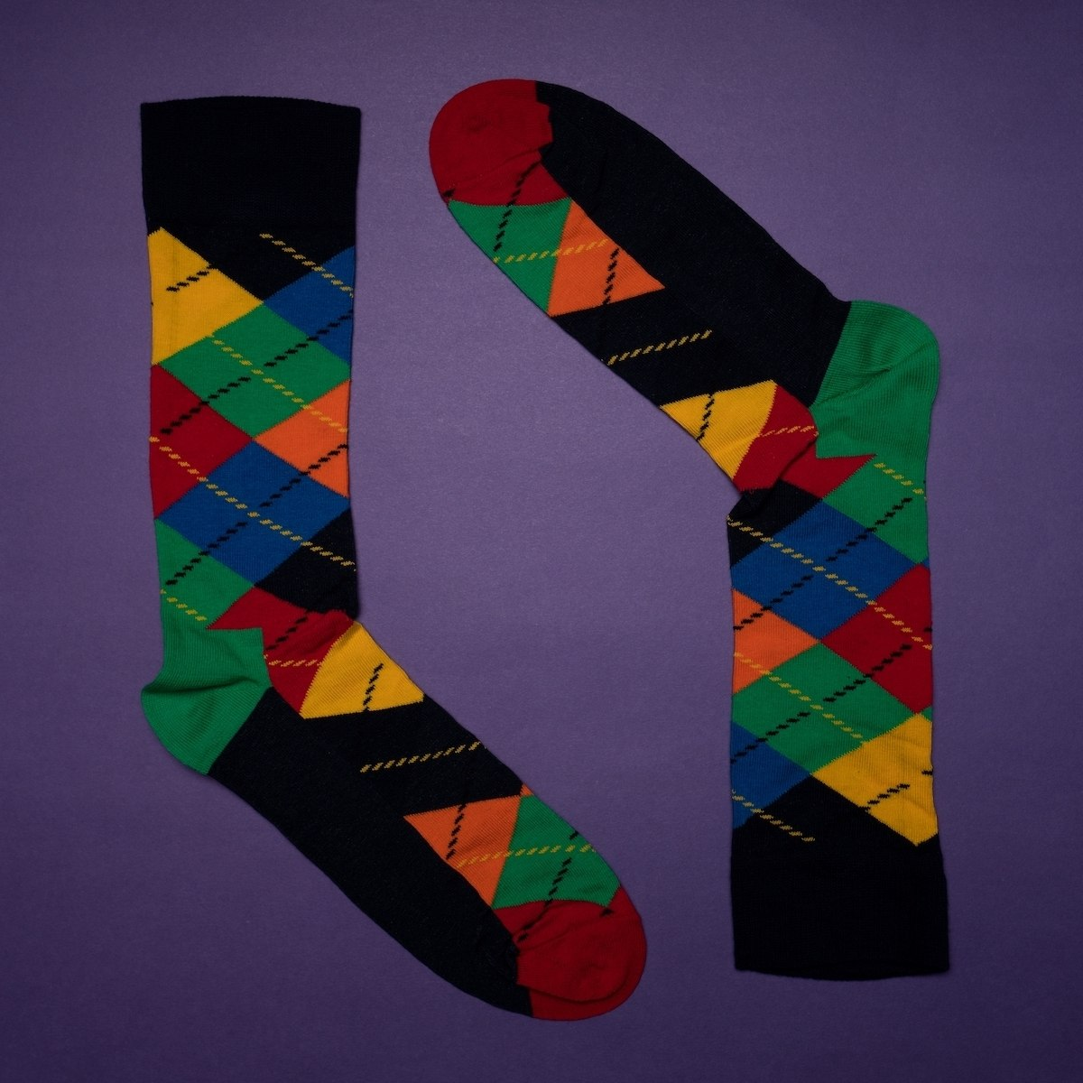 Men's Oxford Socks In Yellow - Navy Blue