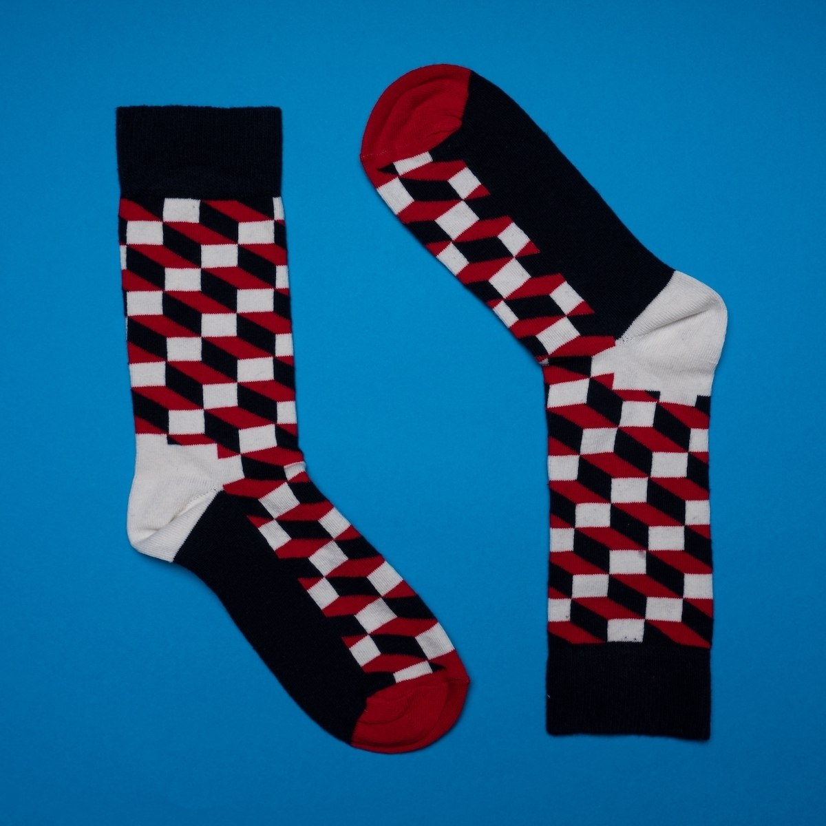 Men's 3D Brick Socks In Red