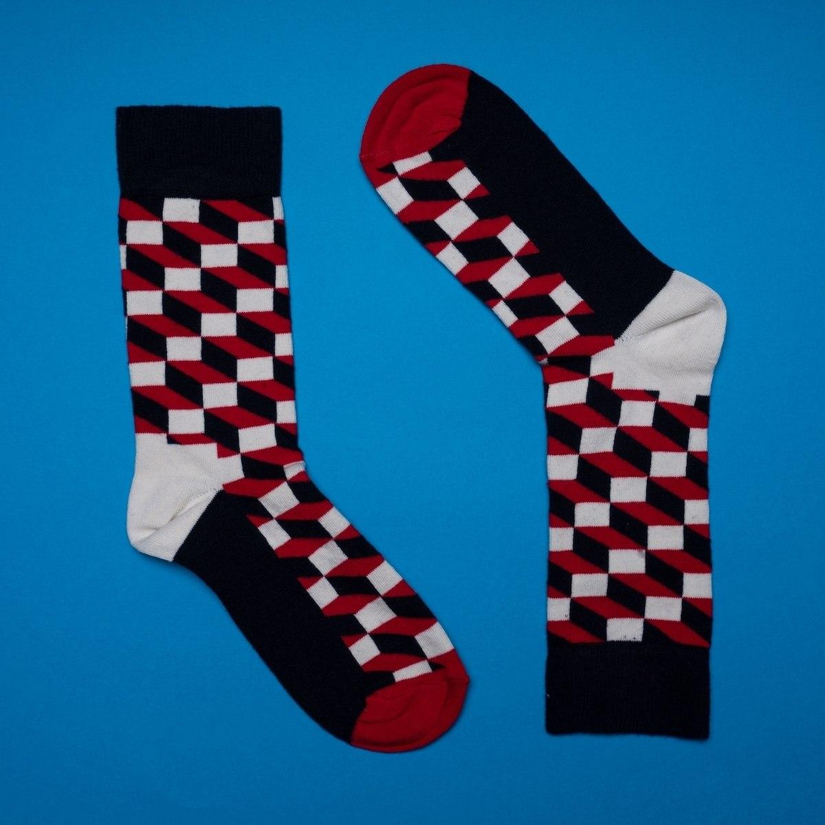 Men's 3D Brick Socks In Red