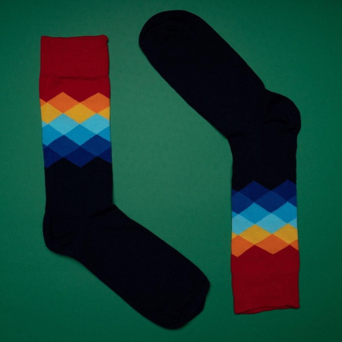 Men's Wavy Oxford Socks In Red