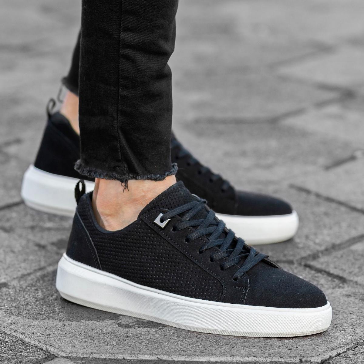 Men's Flat Sole Suede Sneakers In Black