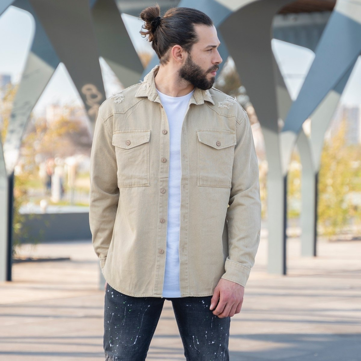 Men's Denim Shirt In Beige