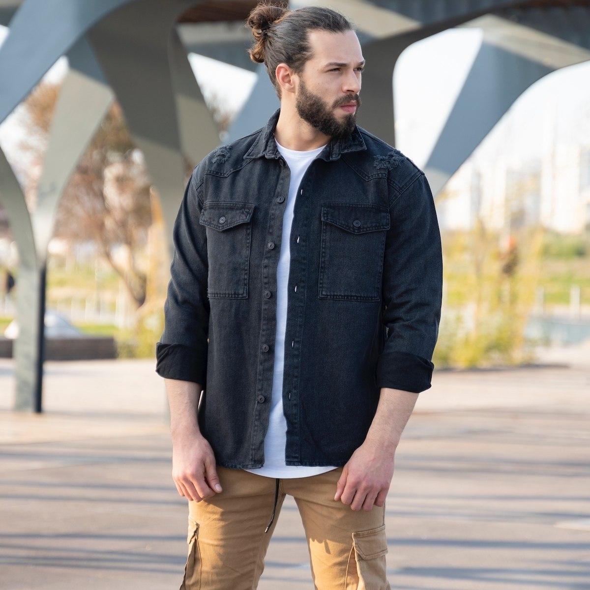 Men's Denim Shirt In Black