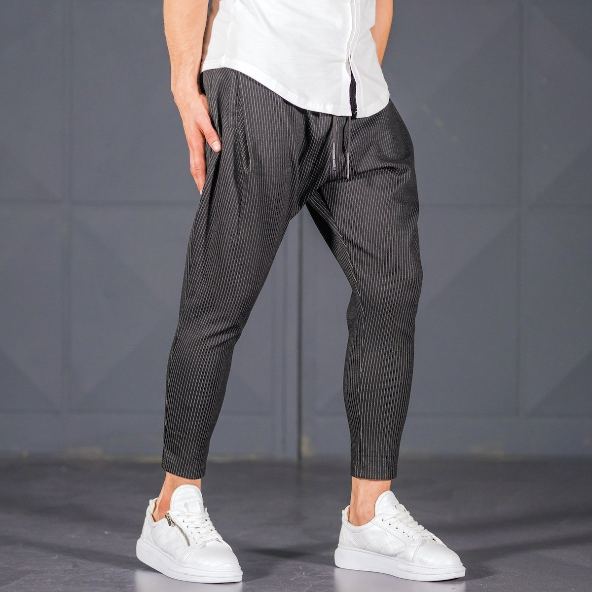 Men's Stripped Style Joggers in Black