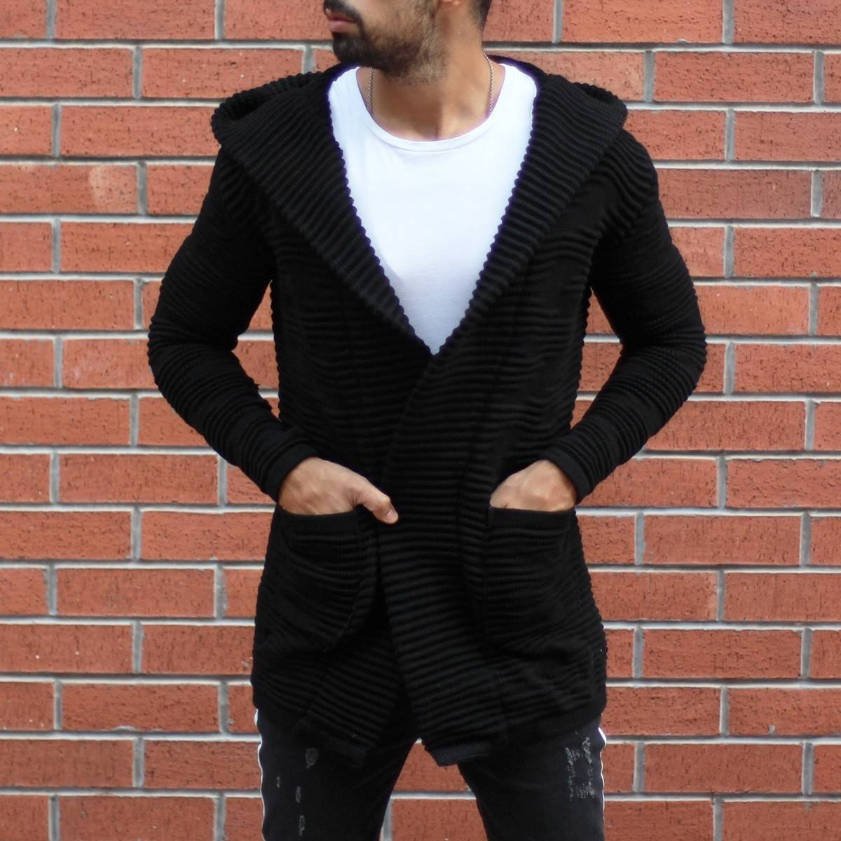 Heavy-duty Wool Knitted Cardigan with Hood in Black