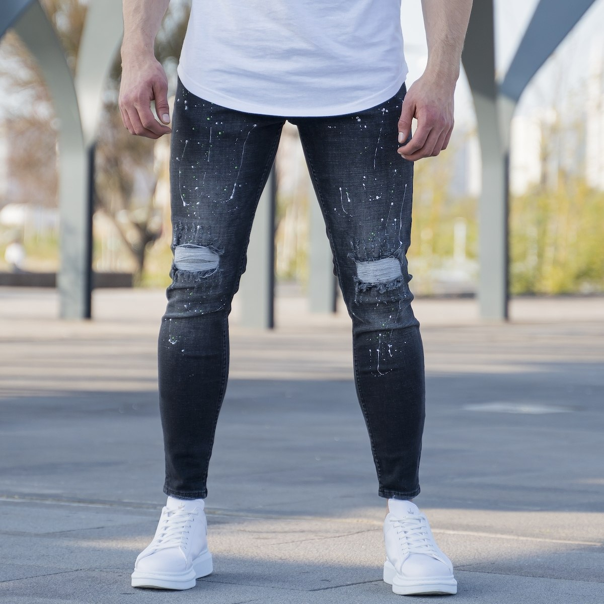 Men's Paint-Drop Jeans In...
