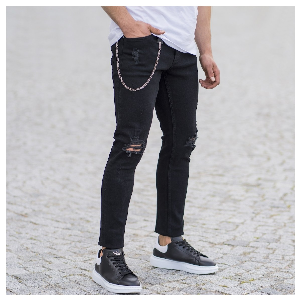 Men's Regged Jeans With Chain In Black