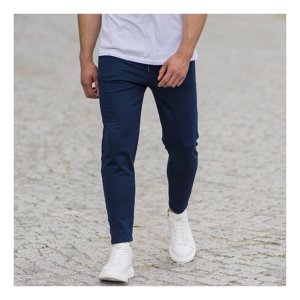 Men's Skinny Basic SweatPants In Navy Blue