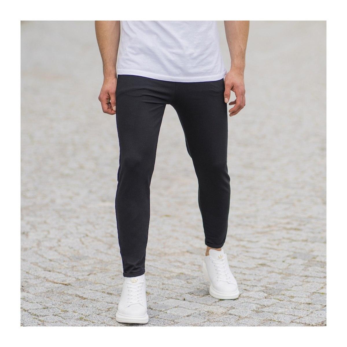 Men's Skinny Basic SweatPants In Black