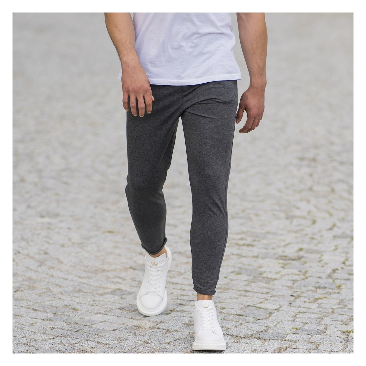 Men's Skinny Basic SweatPants In Anthracite