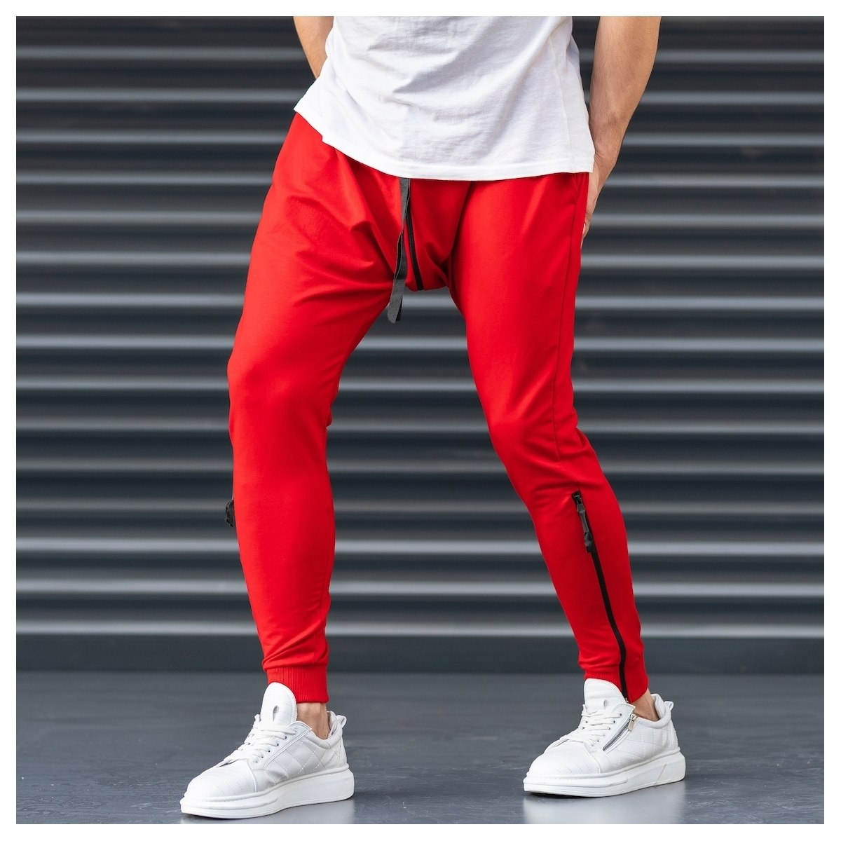 Red Shalvar Trousers with Zip