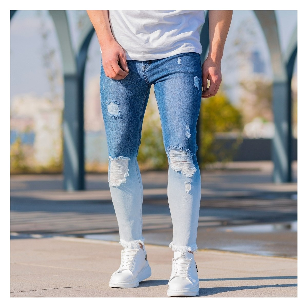 Men's Ragged Degrade Jeans...