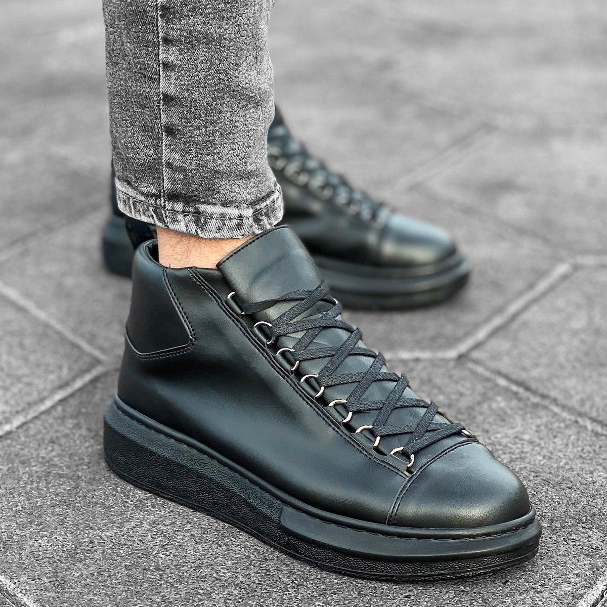 Men's High Top Sneakers Shoes Black