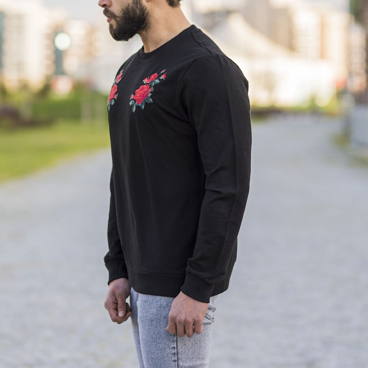Black Sweatshirt With Rose...