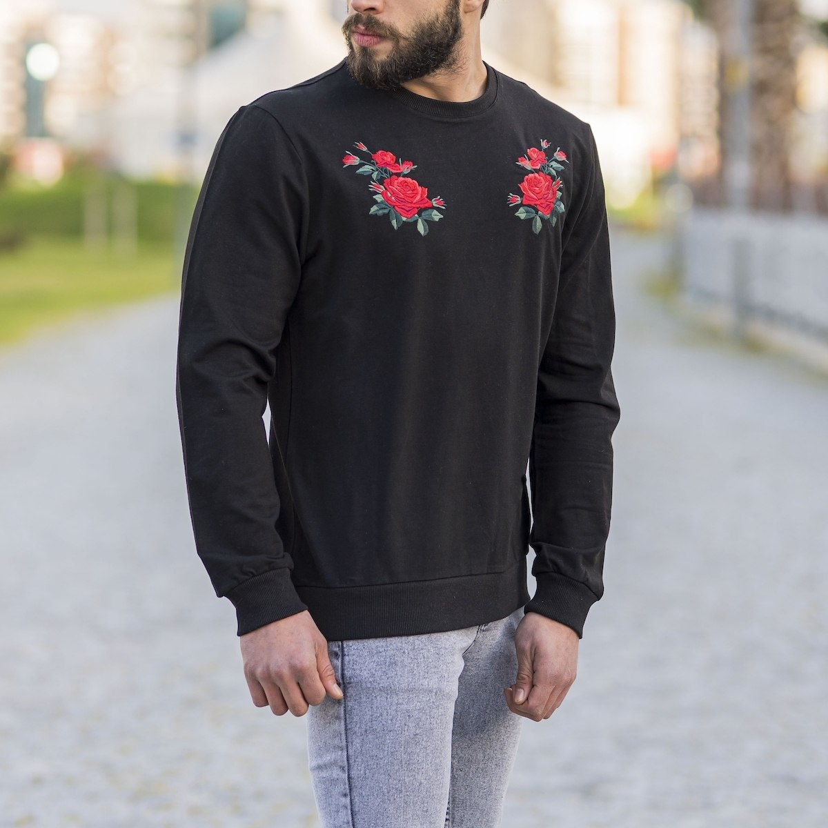 Black Sweatshirt With Rose...