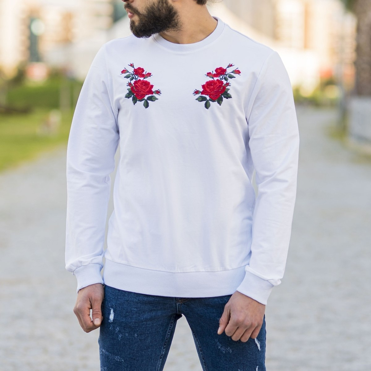 White Sweatshirt With Rose...