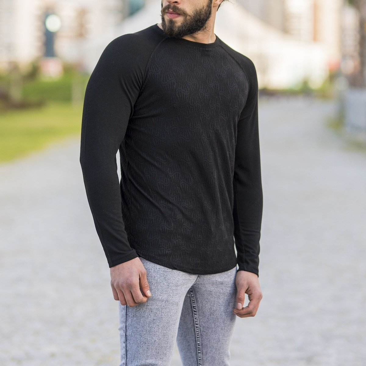 Herren Sweatshirt mit Gravur Optik in schwarz
