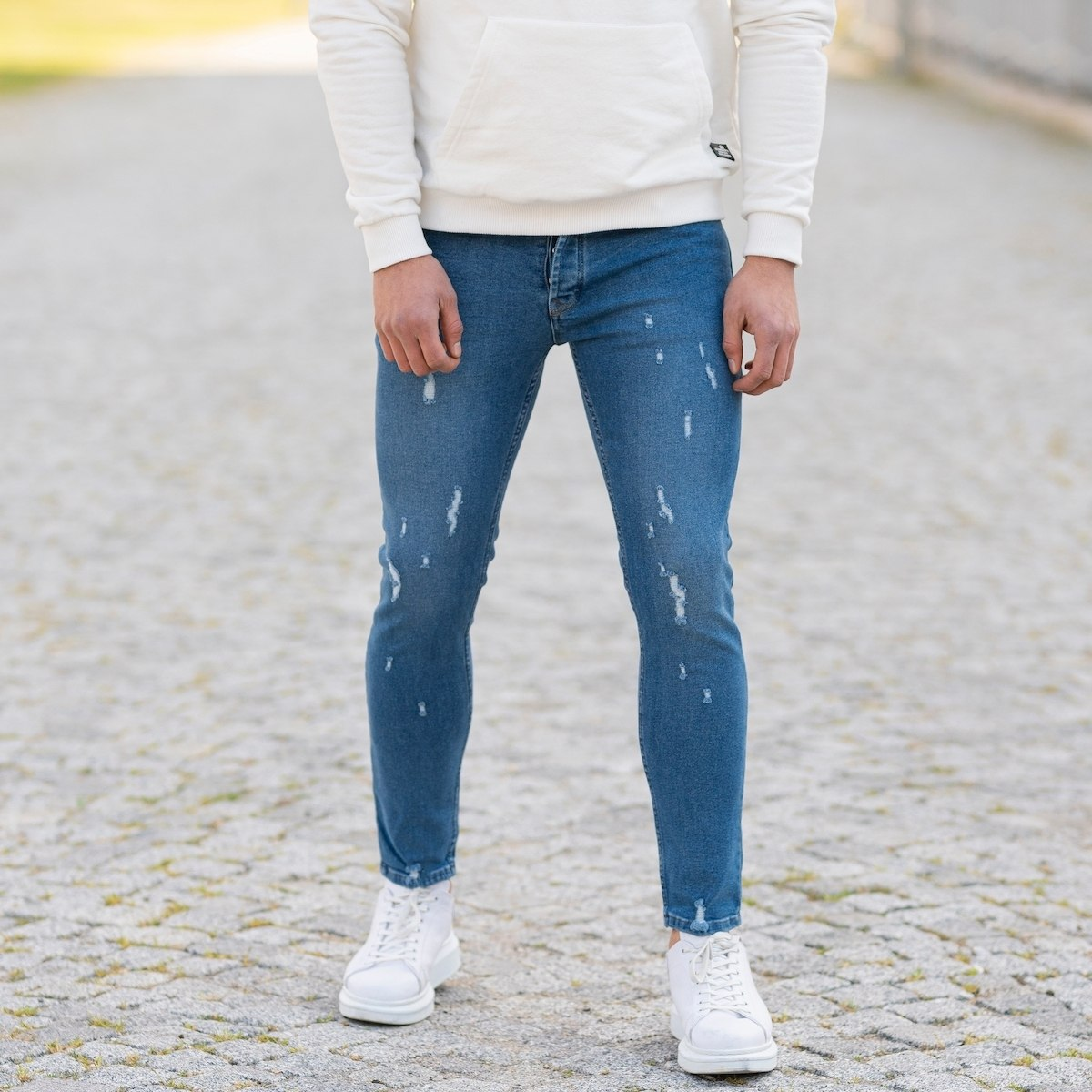 Men's Partially Distorted Basic Jeans In Blue