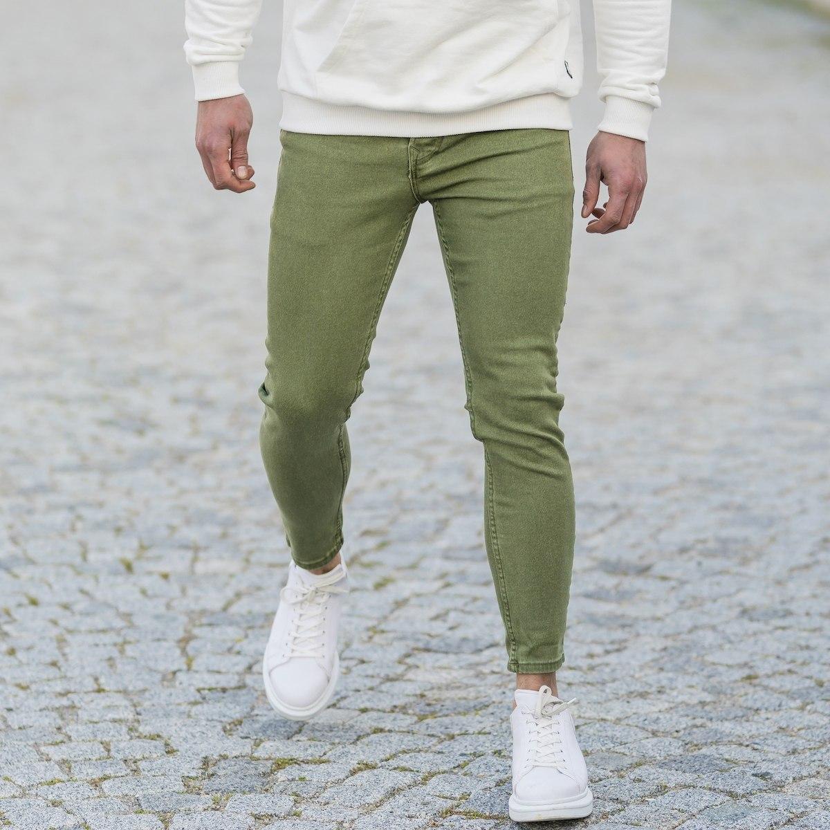 Men's Basic Skinny Jeans In Washed Khaki
