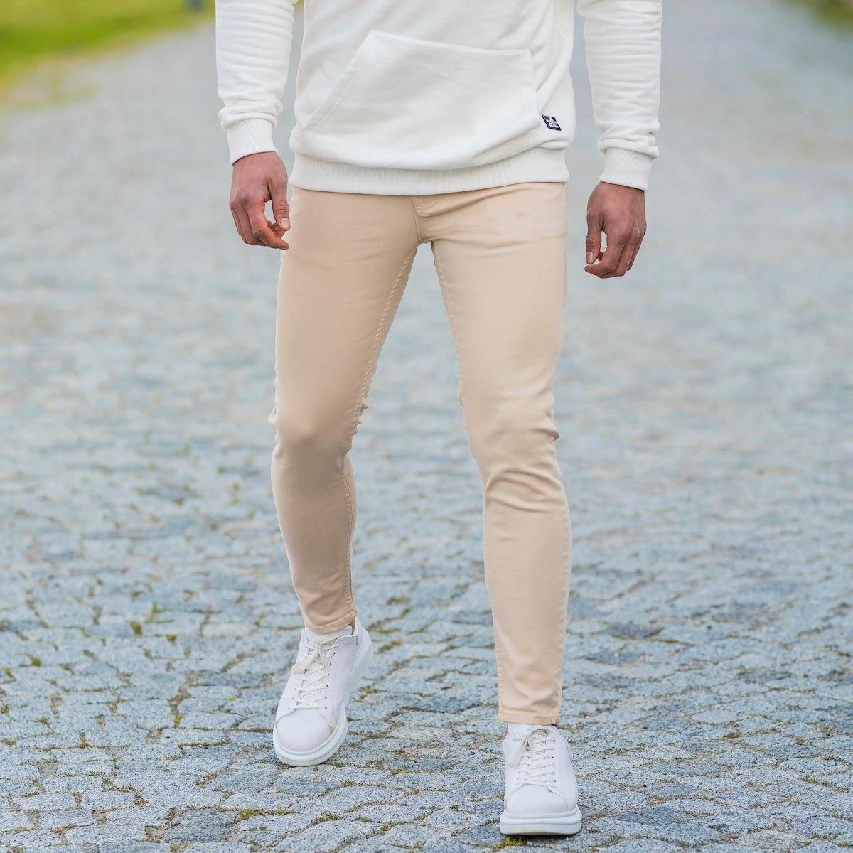 Men's Basic Skinny Jeans In Latte