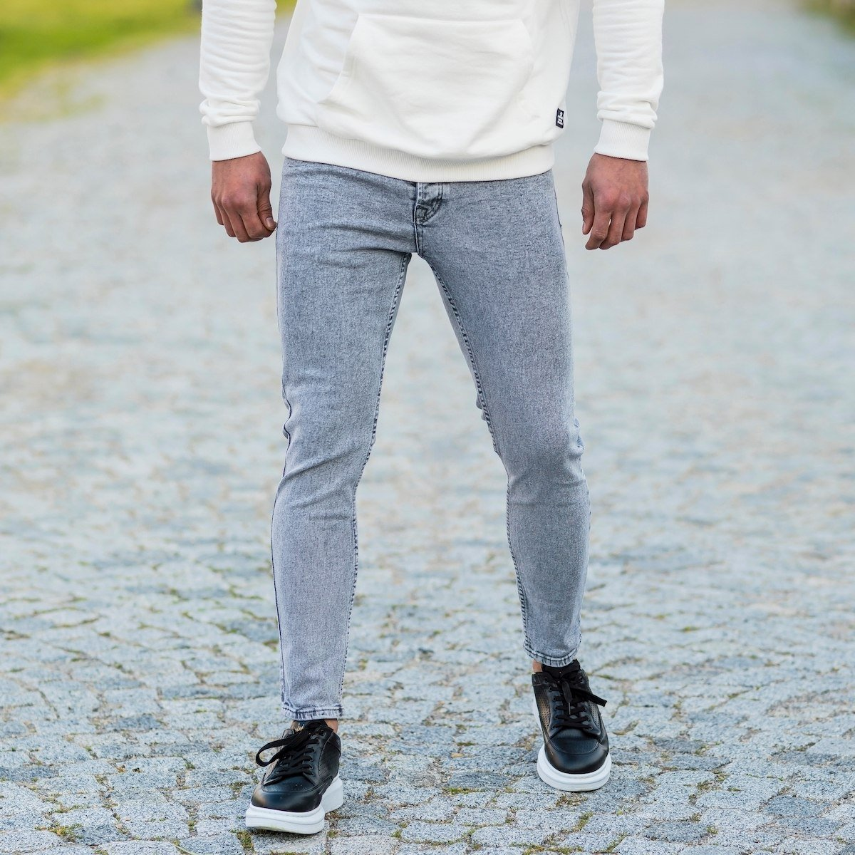 Men's Basic Skinny Jeans In Washed Gray