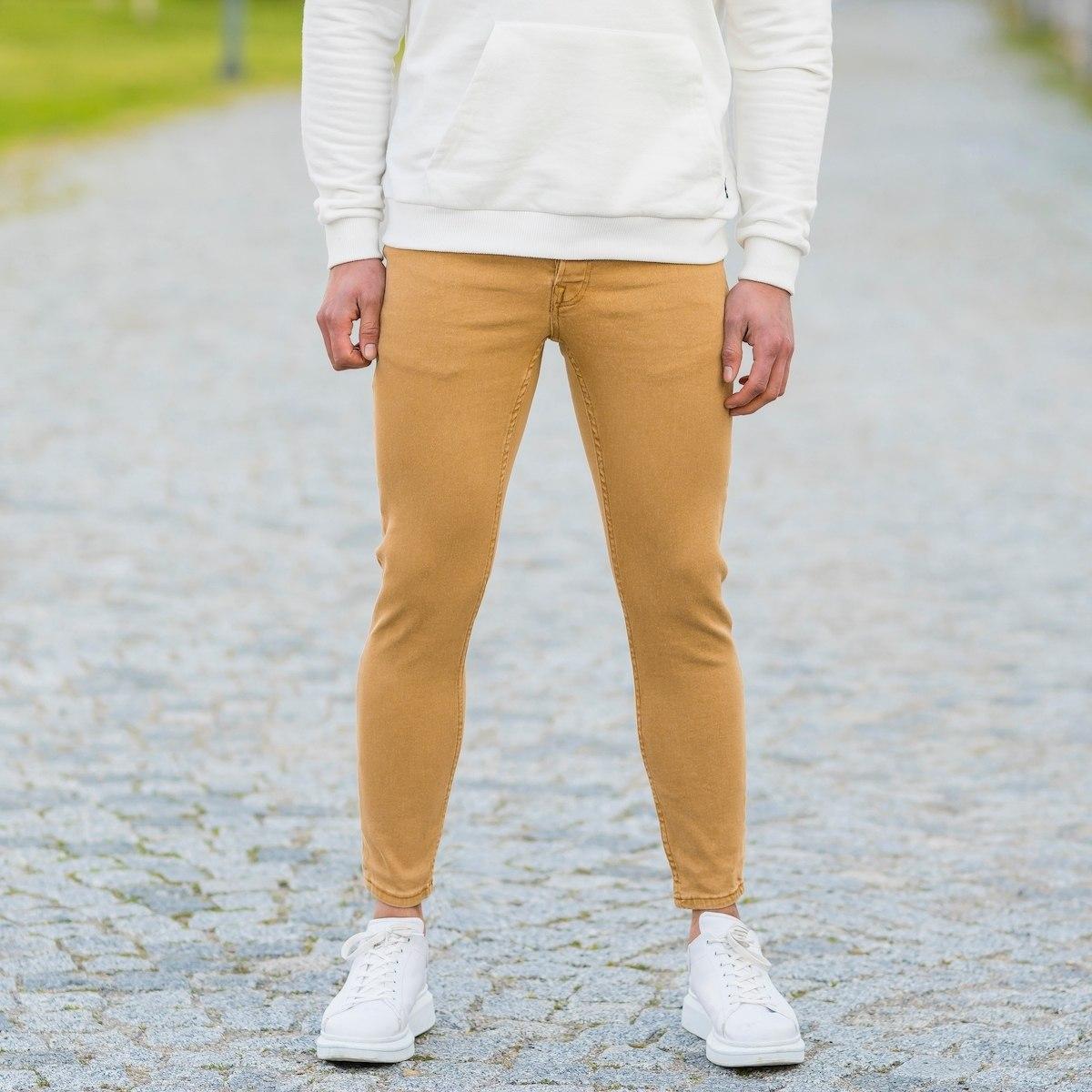 Men's Basic Skinny Jeans In Mustard