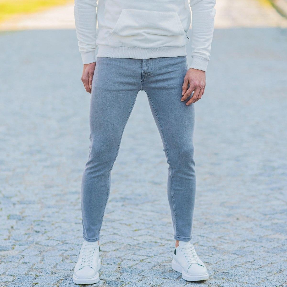 Men's Basic Skinny Jeans In Stone Gray