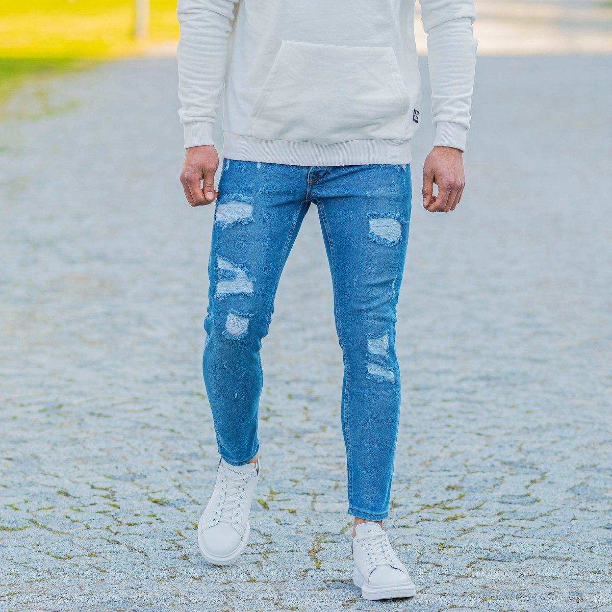 Men's Skinny Ragged Jeans In Blue