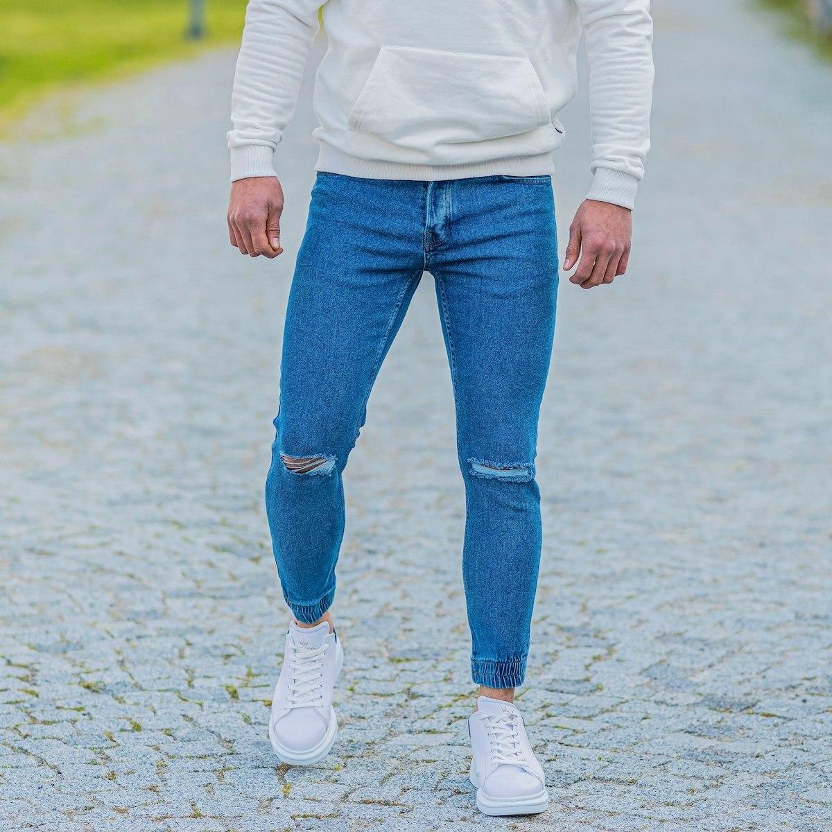 Men's Basic Skinny Distorted Leg Jeans In Ice Blue