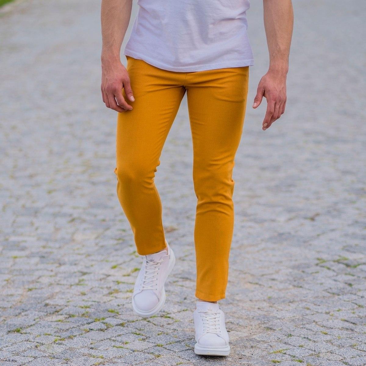 Modern Cut Trousers In Mustard