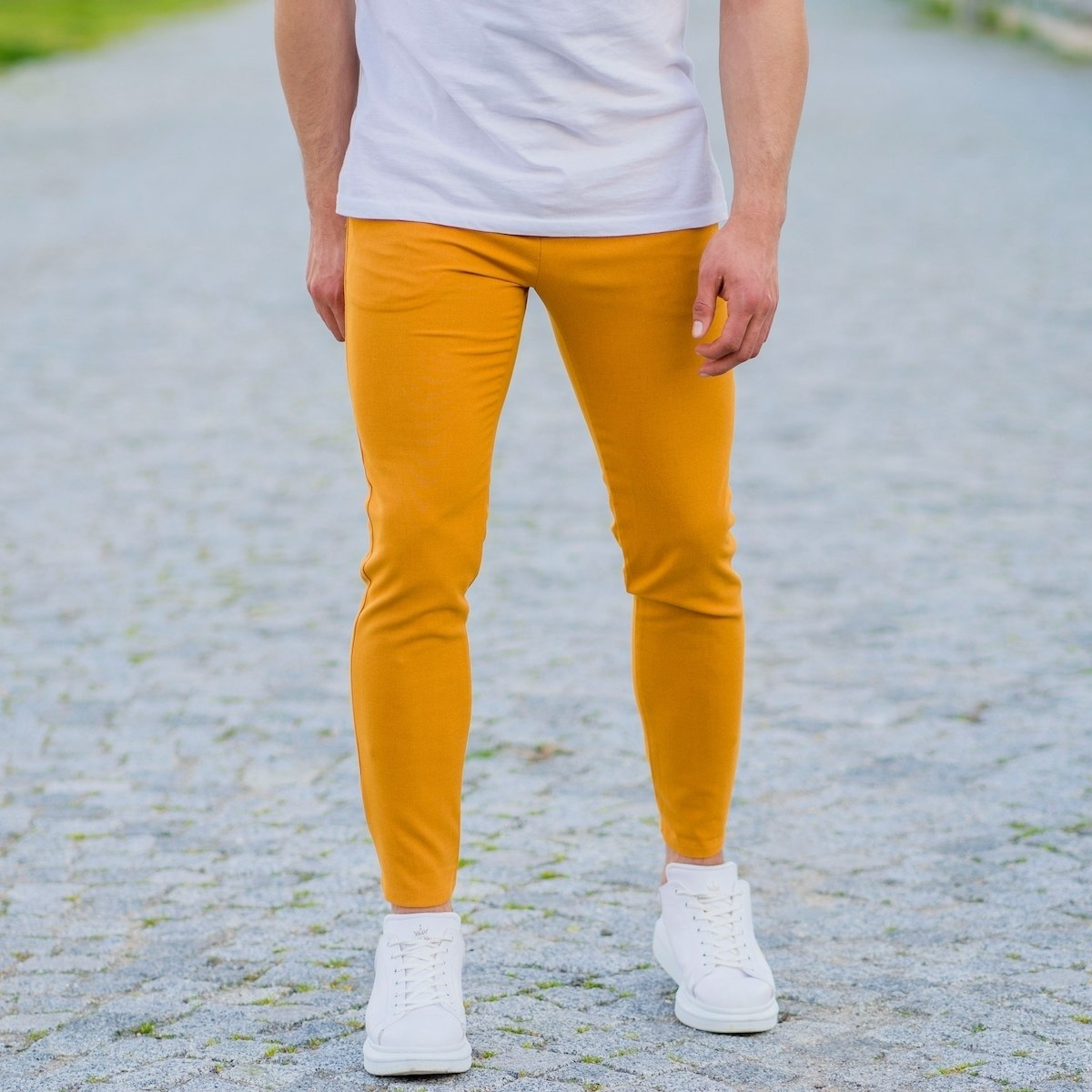 Modern Cut Trousers In Mustard